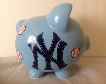 Personalized Large Blue New York Yankees Piggy Bank  Newborns ,1st  Birthday , Ring Bearer ,Flower Girl,Baby Shower Gift Centerpiece