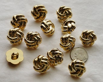 12 Gold Knot Shank Back Buttons, Gold Shank Buttons, Sewing, Craft (AA 83)