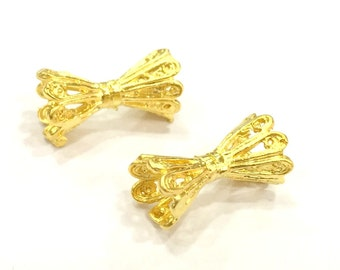 2 Flower Rondelle Beads (18x10 mm)  Gold Plated Brass  G4936