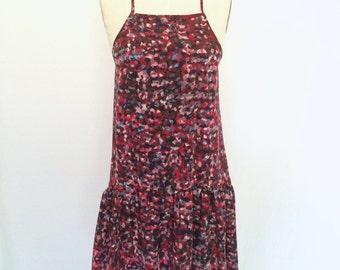 Flowy drop waist dress, patterned