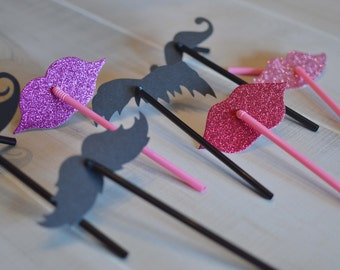 Lips and Mustache Props on a Flexible Straw Party Favor Set Assorted Styles