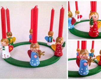 Vintage Christmas Candle Wreath, Hand Painted Wood with Six Cute Angel Doll Figurine Candleholders with 6 Red Mini Taper Candles Included