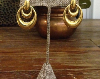 "Vintage unmarked gold tone pierced drop earrings / 1.33"" drop"
