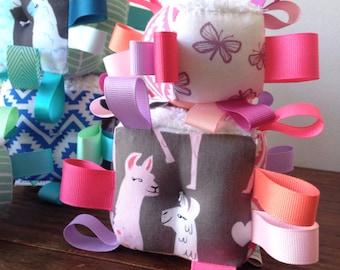 Llama Baby Blocks, Pink or Blue, Aztec Stars Butterflies, Aqua Purple Coral, Ribbon Baby Rattle Block, Twins Gift, Baby Gift