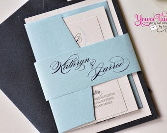 Regal Kathryn- Navy Blue and Baby Blue Wedding, Bat Mitzvah or Party Invitation with personalized belly band panel