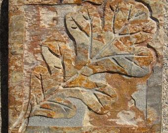 SALE - 4x4 Etched Oak Leaf Tile - Earth Slate Stone Decorative Tile -- SRA