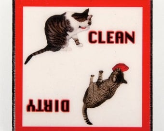 Clean Dirty Dishwasher Magnet, Cat Lover Gift, Dirty Clean Magnet, Kitchen Magnets, Cat Art, Deborah Julian