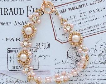 Peachy Pearl Bracelet, Wedding, Spring, Summer