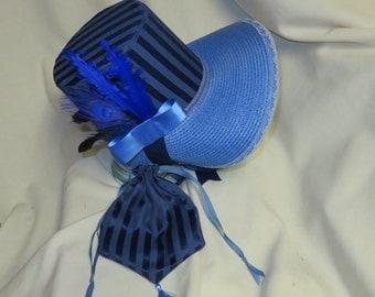 Navy and Cornflower Blue Stovepipe Bonnet and Reticule- Regency, Georgian, Jane Austen Era Bonnet and Purse