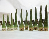 For Patty - Special Order - Garden Fairy Houses - 3 Houses --- White and Speckled Stoneware with Chimneys and Extra Tall  Roofs