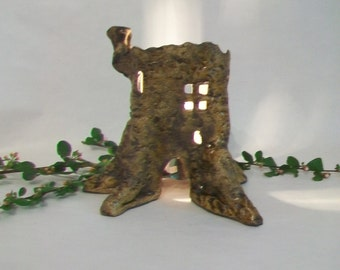 Tree Stump Fairy House / Night Light - Handmade on the Potters Wheel - Each is a One of a Kind - Actual Stump - Ready to Ship