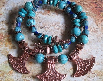 Tribal Turquoise and Copper Necklace-- Turquoise genuine Copper Lapis accents