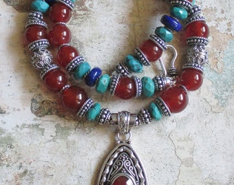 Kaleidescope of Strength -- Carnelian Lapis Turquoise Sterling Necklace - Sterling Carnelian Pendant Bali