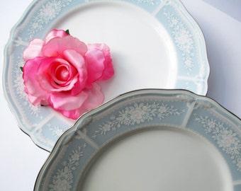 Noritake Lacewood Floral Dinner Plates Pink Blue Set of Four - Vintage Charm