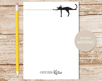 personalized notepad . sleeping black cat notepad . cat note pad . personalized stationary . stationery gift . siamese cat