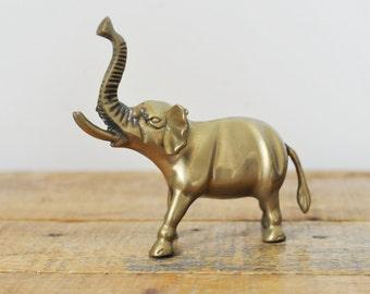 Vintage Small Brass Elephant 5 Inch