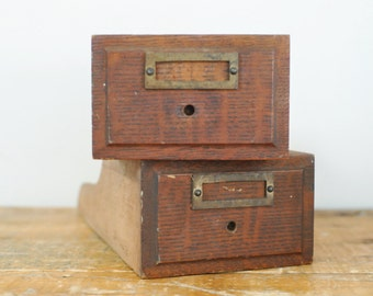 Vintage Wooden Drawer Set of 2 Antique Pair Roll Top Desk Wood Drawers Display