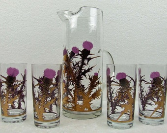 Stunning Vintage  Mid Century Modern Barware Retro Bar Ware Purple Thistle Gold Four Tall Tumblers Drink Pitcher Gregory Duncan Art Glass