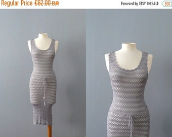40% OFF SALE // Vintage crochet dress. grey knit dress. crochet minidress