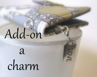 Add-on  Add a charm to your wallet - your pencil bag - small pouch - makeup bag - Cute charms - metal silver color