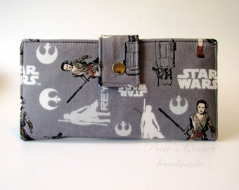 ON SALE - Ready to Ship - Handmade wallet for women - Star Wars 7 - The Force Awakens - Rey - ID clear pocket - Gift for her