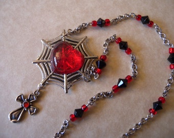 Gothy Heart, Spiderweb, and Cross Necklace in Red and Black