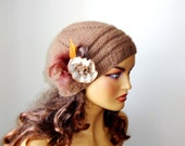 Knitted Light Brown Hat Ornamented With Lace Flower, Women Brown Winter Hat, Knit women Beanie, Fall Fashion, Winter  Accessories