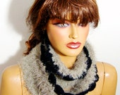 Knitting Scarf Knit Scarves Chunky Scarf, Hand Knit Dark Beige Scarf, Woman Winter Loop Scarves, Winter Accessories, Long Scarves