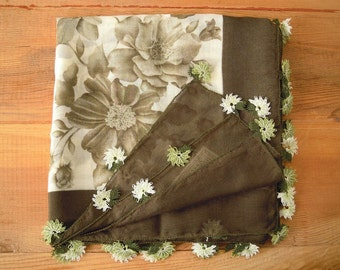 oya scarf, olive green cream needle lace