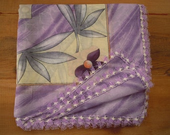 Lilac scarf with needle lace trim, turkish oya
