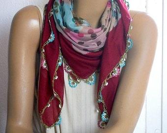 burgundy scarf with crochet flower trim