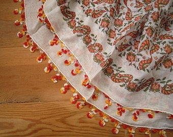 turkish oya scarf, white red yellow, crochet trim