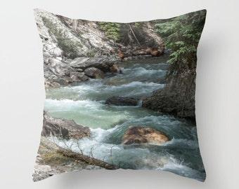Mountain Waterfall Cushion Cover, Turquoise Sofa Decor, Rock Pillow Case, Earthy Sofa Throw, Teal Lake House Art, Johnston Canyon, Alberta