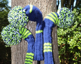 Retro Hand Knit Golf Club Head Covers Set of 3 Blue Green White with Pom Pom