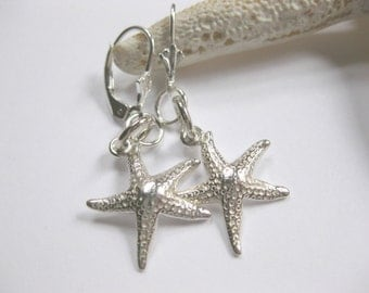 SS Starfish Earrings - Sterling Silver Earrings starfish jewelry drop dangle earrings Handmade Custom Jewelry