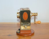 El Casco style brass / leather Pencil Sharpener ~ Rustironi Firenze Italy ~ Good Working Condition w/ aging