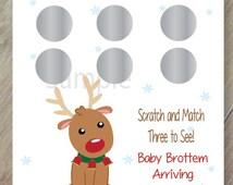 Reindeer Gender Reveal, Set of 12 Scratch off Cards for a Baby Shower or Gender Reveal Party, Winter Gender Reveal, Christmas Gender Reveal