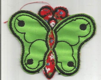 2 PC Green Red Floral Nostalgic Fabric Butterfly Retro Vintage 1970's Sewing Patch Applique