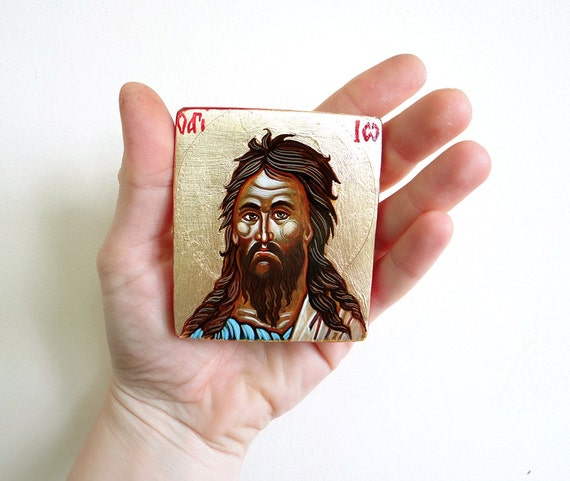 Miniature Icon Saint John the Disciple, Handpainted Icon Gift, Small Icon