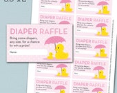 Rubber Duck Baby Shower Diaper Raffle Card Ticket - Pink and Yellow - Rubber Duck - Instant Download