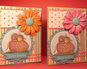 Happy Easter Card - Handmade Card with Image of Mouse on and Easter Egg