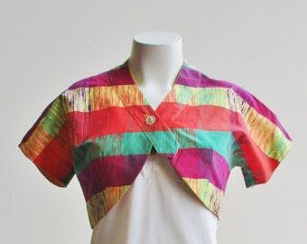 1950's Cotton Multi-Color Bolero Size S