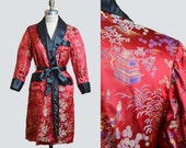 Vintage 50s 60s Asian Satin Smoking Jacket Robe