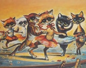 Vintage 60s 70s Kitty Cat Ballet Print by Miree / Big Eye Print / Mid Century Modern