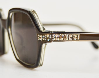 Vintage 50s Semi Round Eyeglass Frames / 1950s Brown AB Rhinestone Eyeglasses