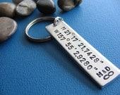 Custom Coordinates Keychain, GPS Latitude Longitude, Coordinate Key Chain, Stamped Keychain, Boyfriend Gift, Girlfriend gift, Favorite place