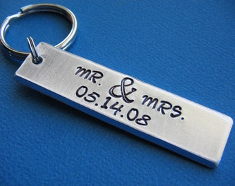 Custom Keychain, Personalized Keychain, Hand Stamped Keychain, Customized Keychain, Anniversary Gift, Gift for Him, Gift for Her, Ampersand