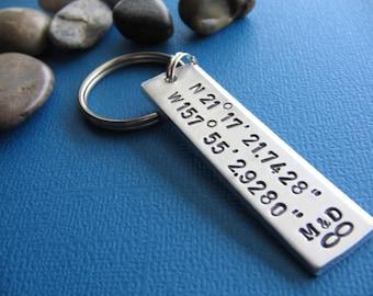 SALE - Coordinate Keychain, GPS Latitude Longitude, Personalized GPS Keychain, Hand Stamped Keychain, Gift for Her Him, Anniversary Keychain