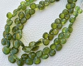 Brand New, Full 8 Inch Strand, AAA GREEN VESSONITE Faceted Heart Shape Briolettes, 7-10mm Size,Great Quality at Low Price