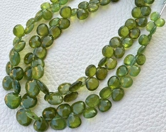 Brand New, 1/2 Strand, AAA GREEN VESSONITE Faceted Heart Shape Briolettes, 7-10mm Size,Great Quality at Low Price